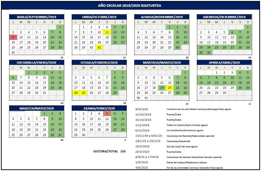 Calendario Y Horarios Nlarburu
